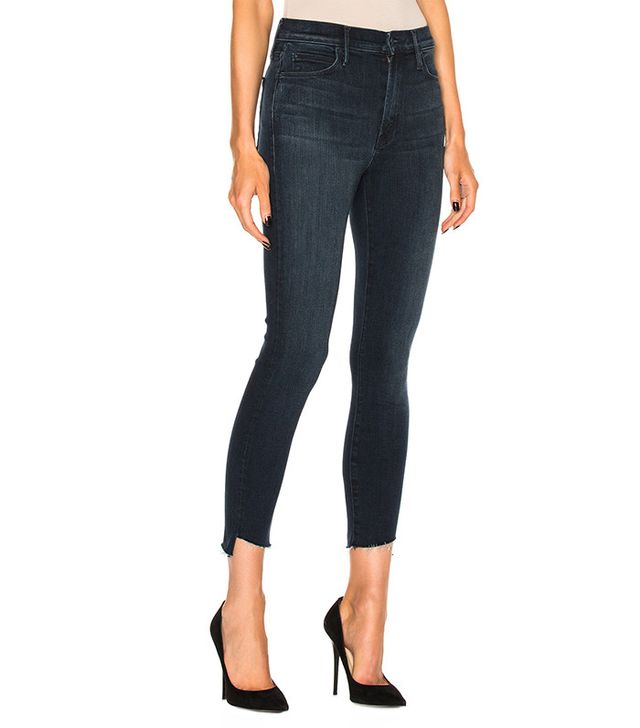 Mother Stunner Zip Ankle Fray Skinny