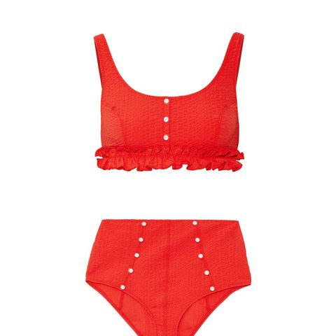 Colby Ruffle-Trimmed Seersucker Bikini