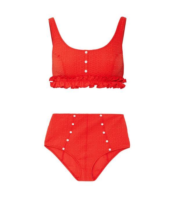 Best bikini websites: Lisa Marie Fernandez Colby Ruffle-Trimmed Seersucker Bikini