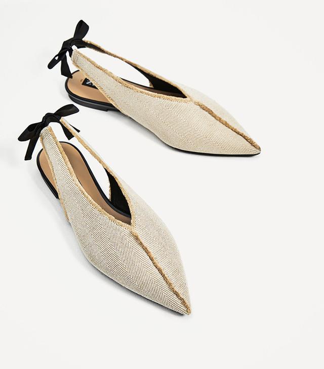Zara Frayed Fabric Ballerinas