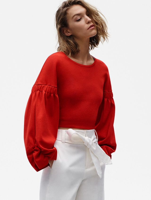 Zara Cropped Sweater With Full Sleeves