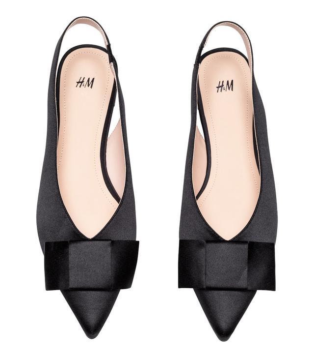 H&M Satin Slingbacks in Black