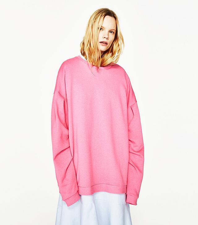Zara Oversized Sweatshirt With Full Sleeves
