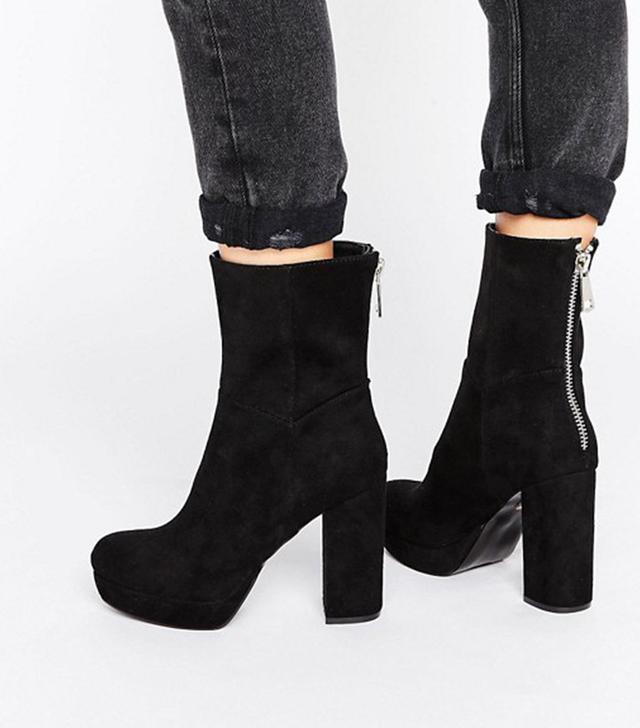Asos Lost Ink Platform Heeled Ankle Boots