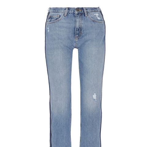 Jeanne Cropped Striped Straight-Leg Jeans