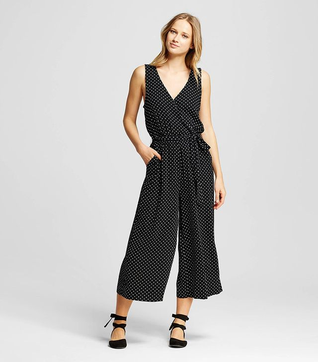 Who What Wear Wrap Tie Jumpsuit in Black Polka Dot