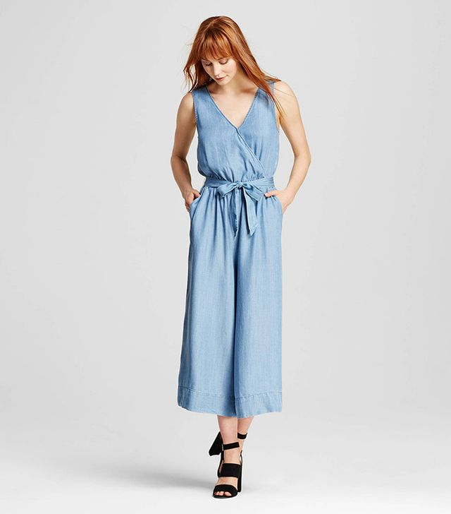 Who What Wear Wrap Tie Jumpsuit in Chambray