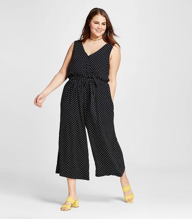 Who What Wear Plus Size Wrap Tie Jumpsuit in Black Polka Dot