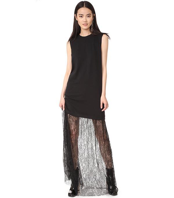 McQ Alexander McQueen Lace Mix Maxi Dress