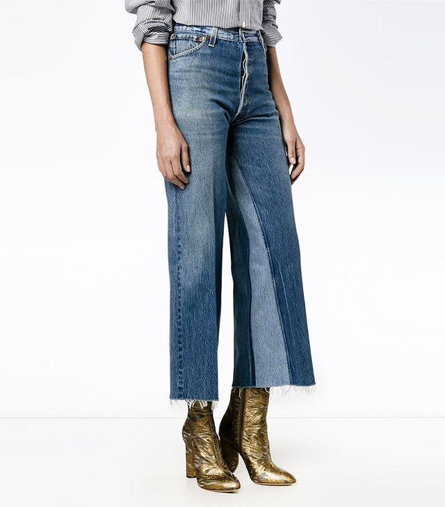 Re/Done Panelled Cropped Jeans
