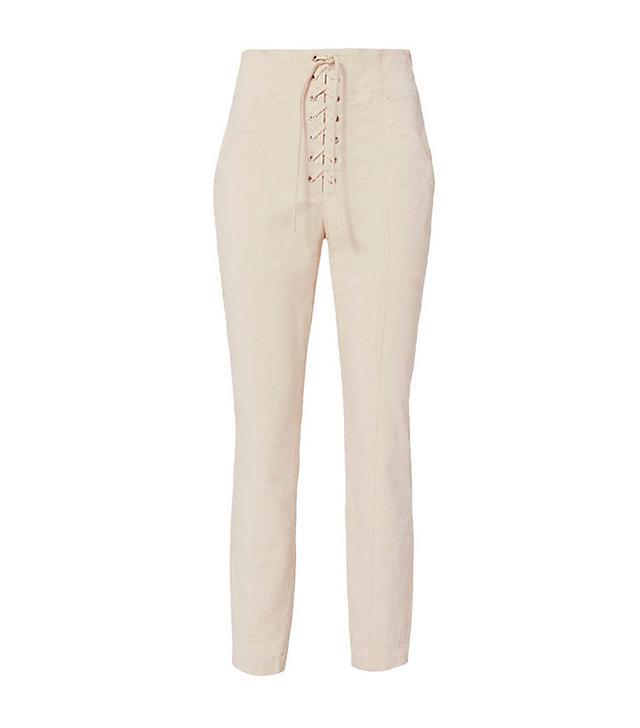 A.L.C. Kyle Lace-Up Cropped Khaki Pants