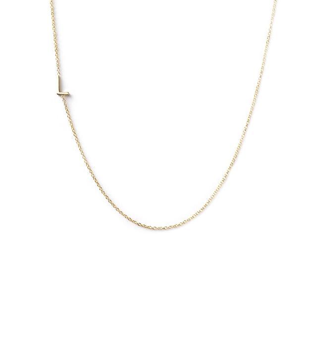 Maya Brenner 14k Gold Asymmetrical Letter Necklace