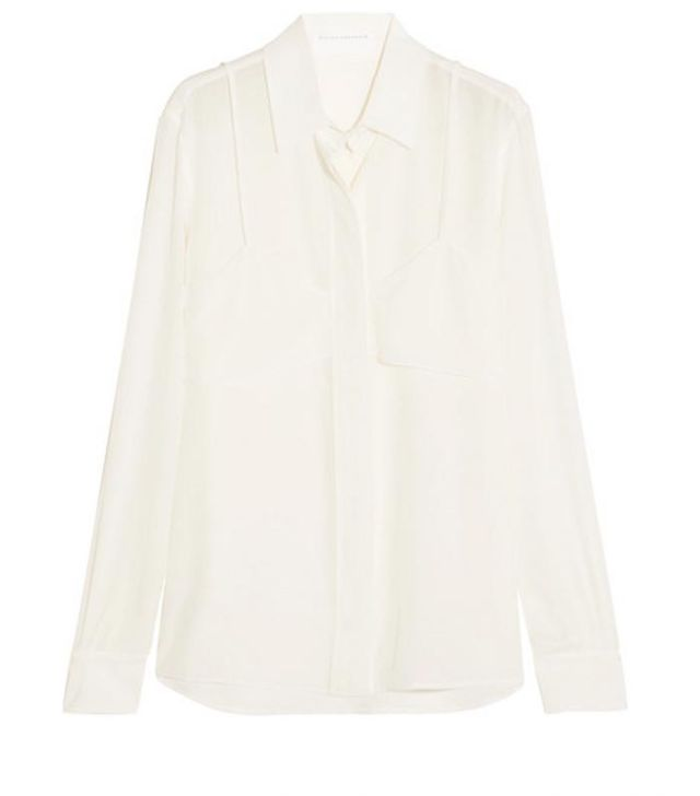 Victoria Beckham Layered Silk Crepe de Chine Shirt