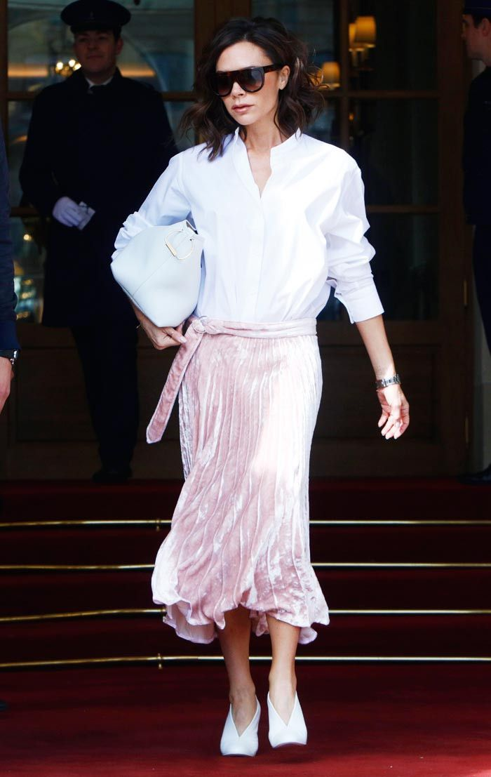 Victoria Beckham white shirt pink skirt