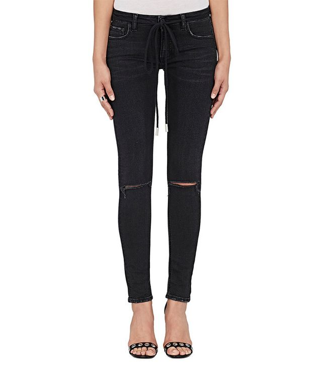 Off White Distressed Skinny Jeans