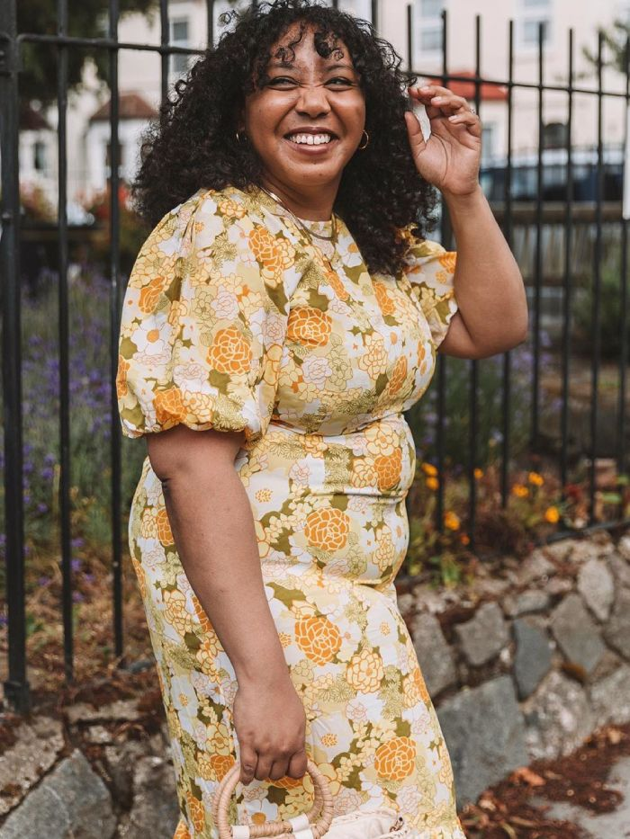 Best Asos Dresses: Nicole Ocran wears a vintage-print asos dress