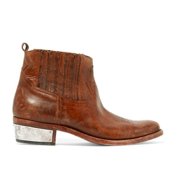 Cowboy boot trend: Golden Goose Deluxe Brand Crosby Distressed Leather Ankle Boots