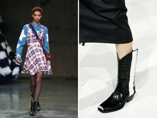 Cowboy boots on the runway at House of Holland A/W 17 and Calvin Klein A/W 17.