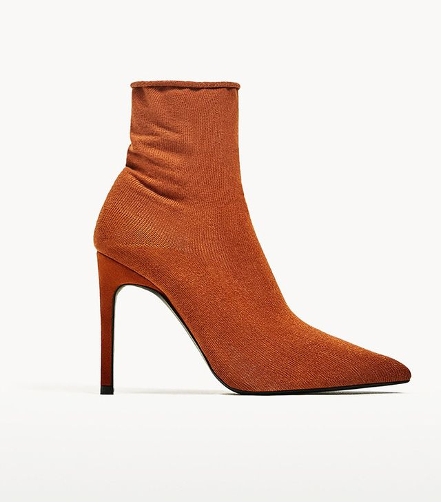 Zara High Heel Sock Style Ankle Boots