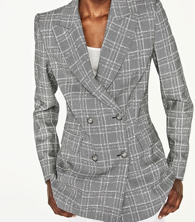Zara Double-breasted Checked Jacket