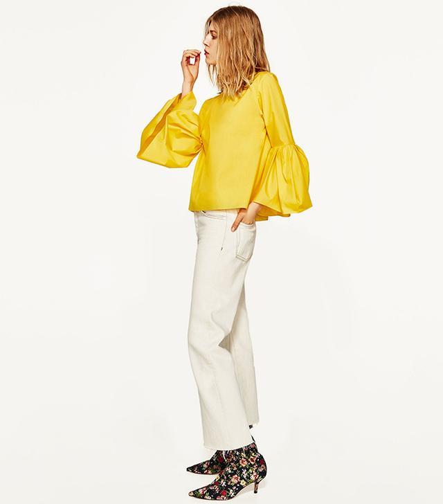 Zara Poplin Top With Pleated Sleeves