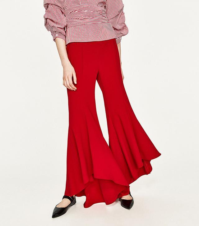 Zara Asymmetrical Flare Trousers