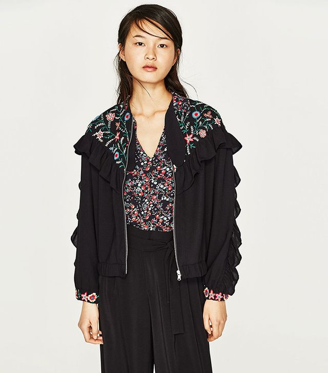 Zara Embroidered Jacked With Frills