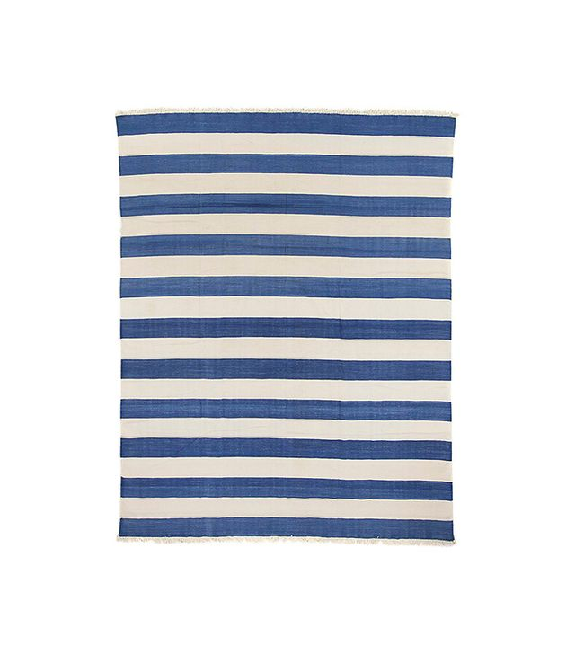 Ira & Sylvia Seret Blue Striped Dhurrie