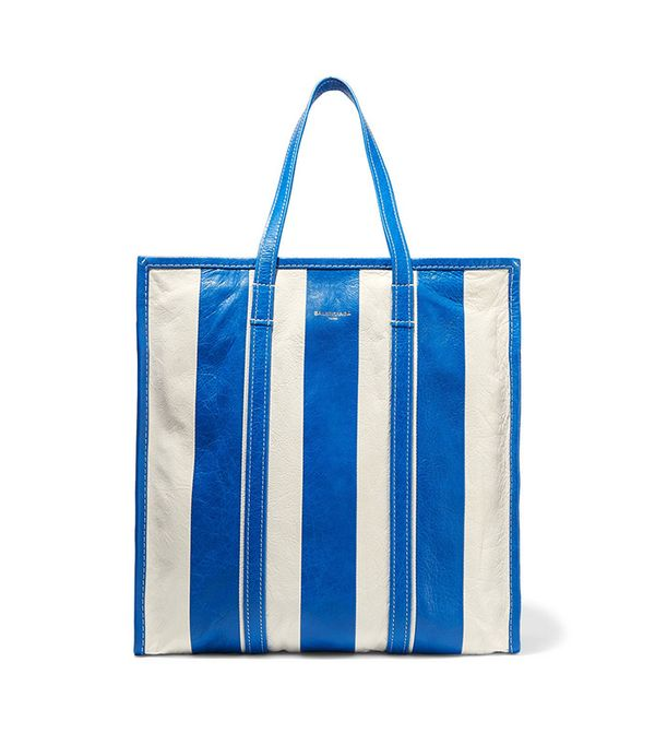Balenciaga Bazar Striped Textured- Leather Tote