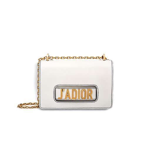 J'Adior Flap Bag With Chain in Off-White Calfskin