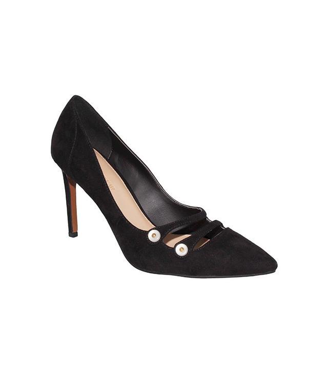 Who What Wear Women's Hadley Microsuede Button Strap Heels