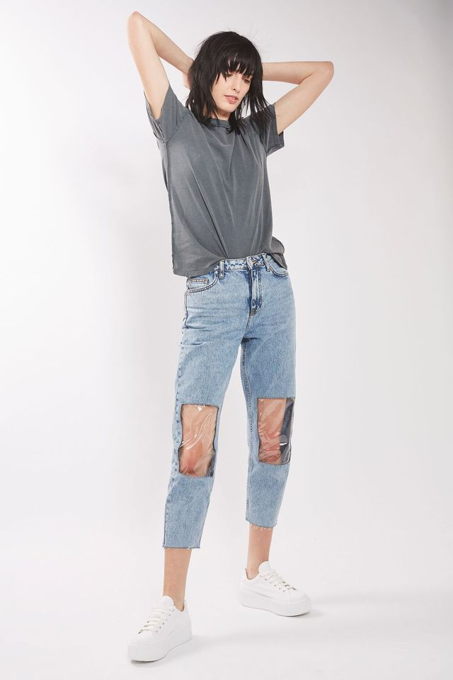 Topshop Clear Panel Mom Jeans
