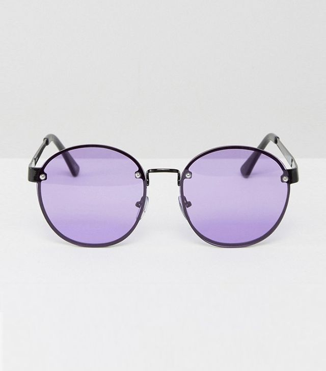 ASOS Round 90s Sunglasses with Lilac Colored Lenses
