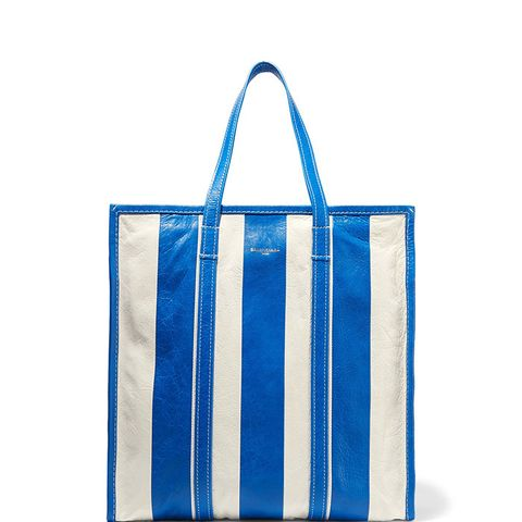 Bazar Striped Textured- Leather Tote