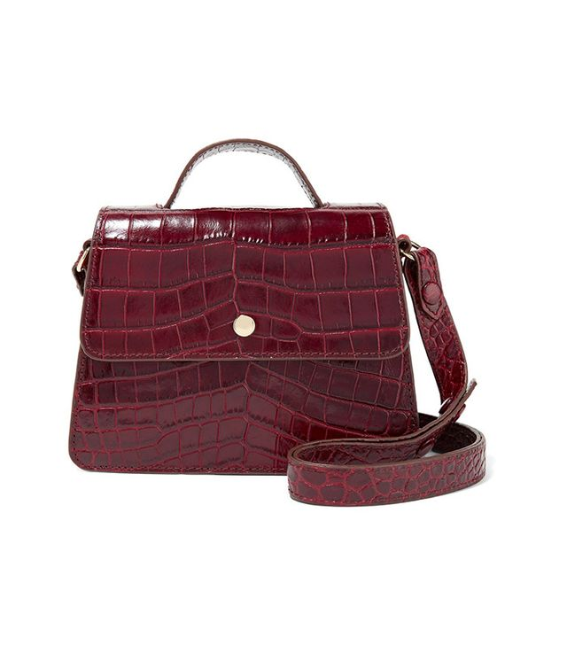 Elizabeth and James Eloise Mini Suede-Trimmed Croc-Effect Leather Shoulder Bag