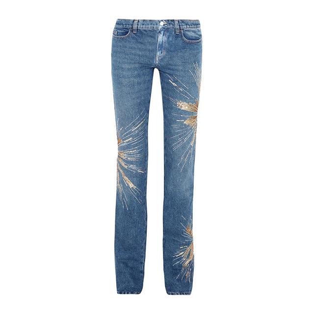 Attico Ava Embellished Lo Rise Jeans