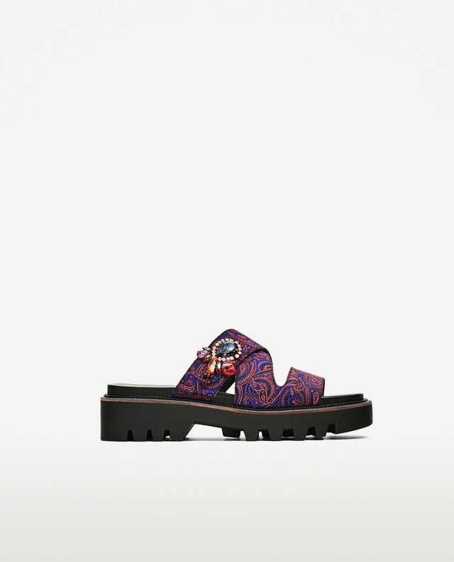 Zara Embroidered Track Sole Sandals