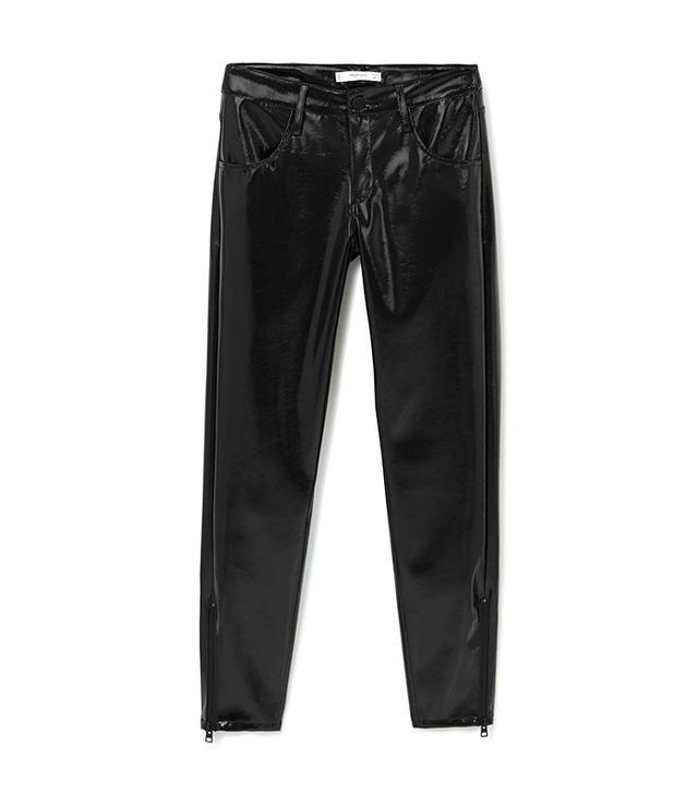 Mango Zipped Vinyl Trousers