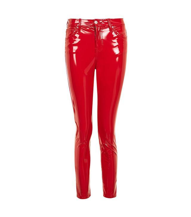Topshop MOTO Red Vinyl Jamie Jeans