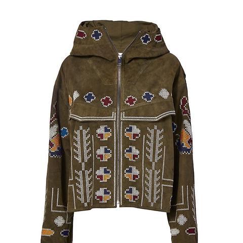 Olive Suede Embroidered Jacket