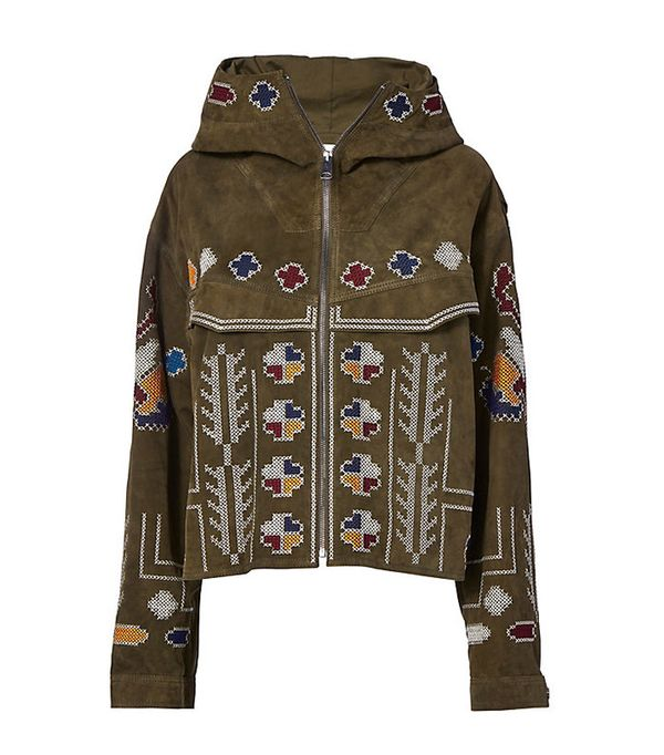 Zynep Tosun Olive Suede Embroidered Jacket