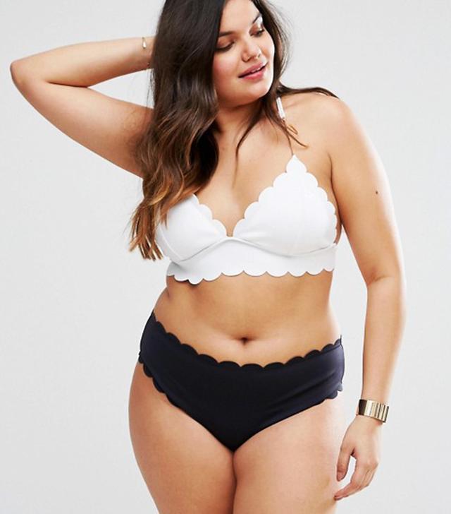 River Island Plus Mismatch Scallop Trim Bikini Top