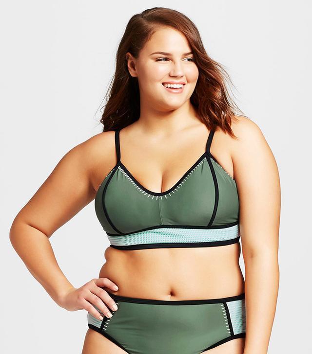 Xhilaration Plus Size Colorblock Crochet Bikini Top