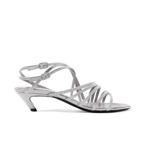 Crystal-Embellished Suede Sandals