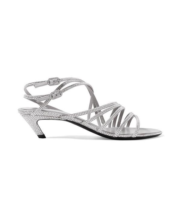 Balenciaga Crystal-Embellished Suede Sandals