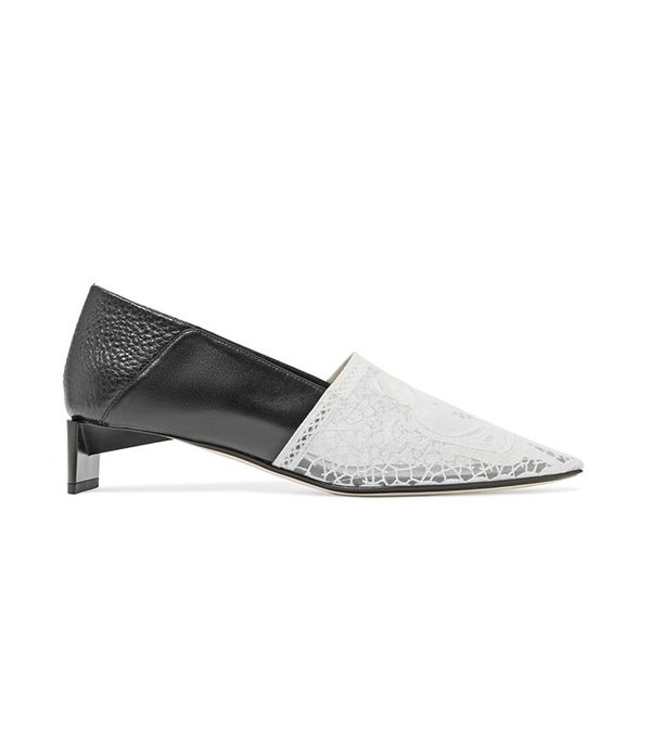 Loewe Embroidered Mesh and Leather Loafers