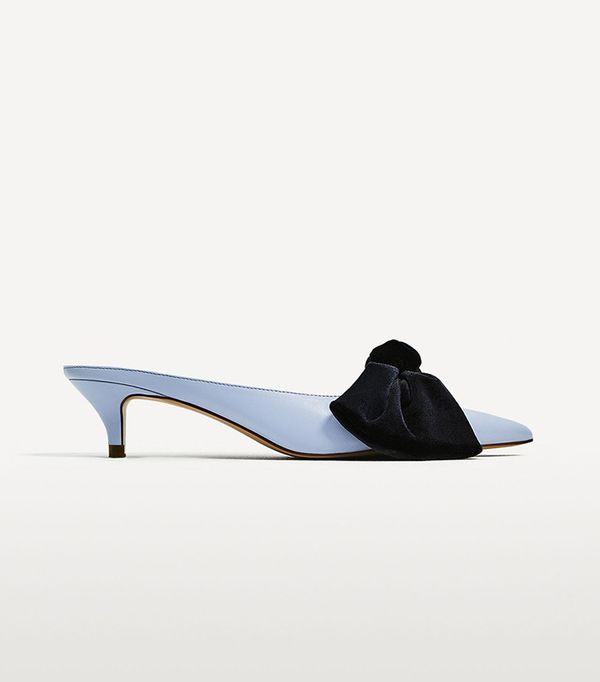 Zara Heeled Mules With Bow