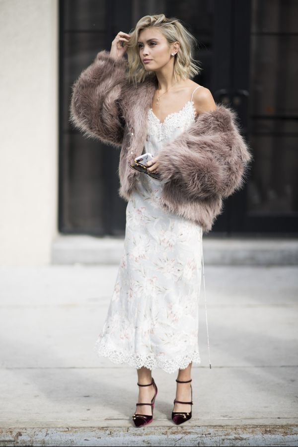 Bring a touch of Old Hollywood glamour by pairing a cropped faux fur jacket and slinky silk slip dress.