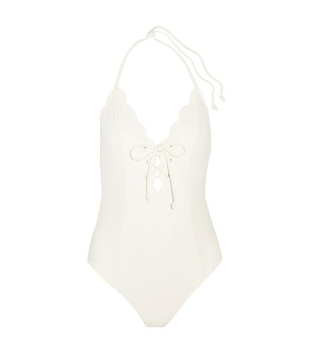 Marysia Broadway Lace-Up Scalloped Swimsuit