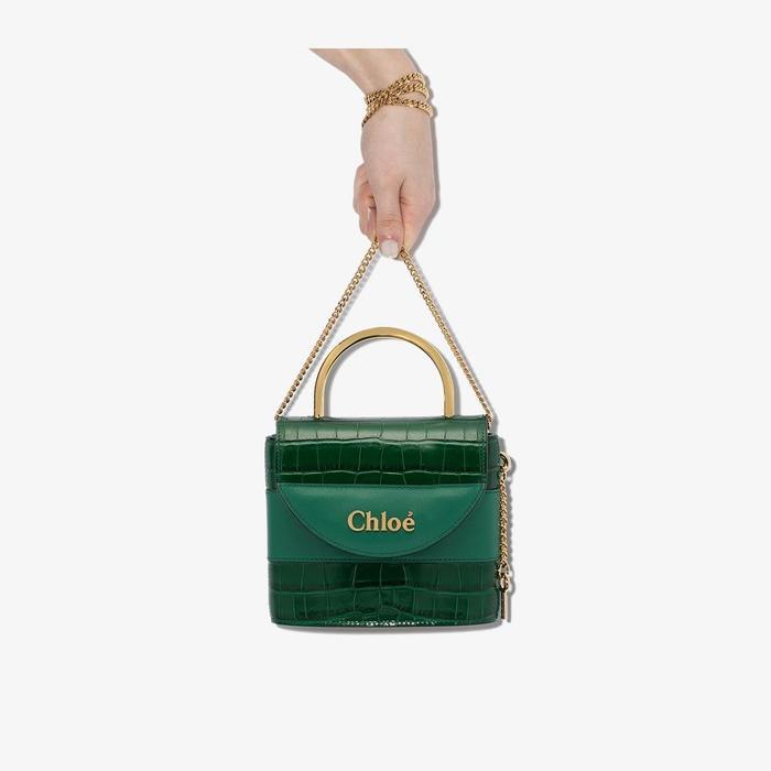 Chloé Green Aby Lock Mock Crock Leather Bag